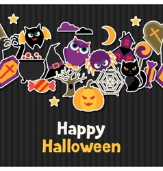 Happy halloween greeting card with flat sticker vector