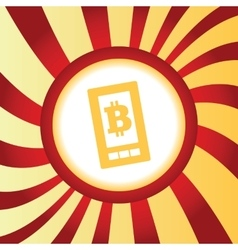 Bitcoin on screen abstract icon vector