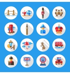 Set of flat design england travel icons vector