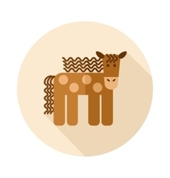 Horse flat icon with long shadow vector