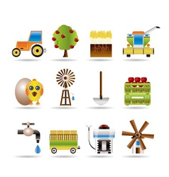 Farming industry and farming tools icons vector