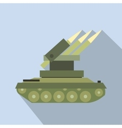 Anti-aircraft warfare flat icon vector