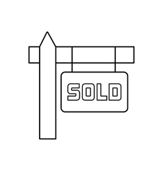 Sold sign line icon vector