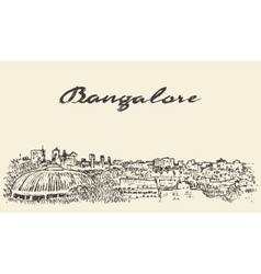 Bangalore skyline india drawn sketch vector