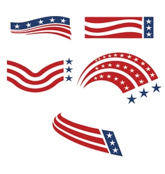 set of usa flags vector image