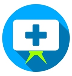 Health care presentation flat round icon with long vector