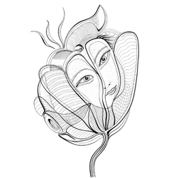 Surreal hand drawing flower with female face vector