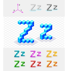 Isometric font from the cubes Letter Z vector image