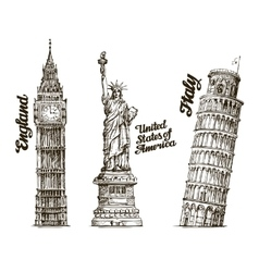 Travel hand drawn sketch england usa italy vector