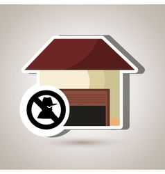 Smart home with theft isolated icon design vector