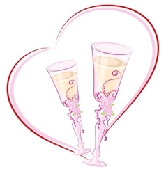 Two wedding champagne glass in heart shape vector