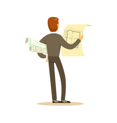 Architect standing and reviewing blueprint back vector