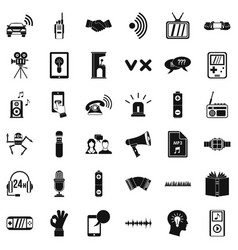 Audio equipment icons set simple style vector
