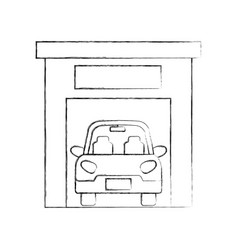 Car inside garage repair parking icon image vector