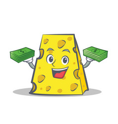 Cheese character cartoon style with money vector