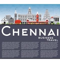 Chennai skyline with gray landmarks vector