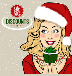 christmas discount banner with sexy blonde santa vector image