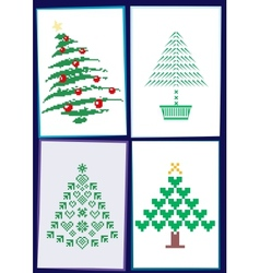 Collection of Christmas trees 01 vector image vector image