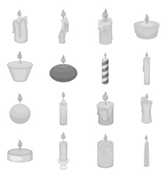 Different candle icons set monochrome style vector