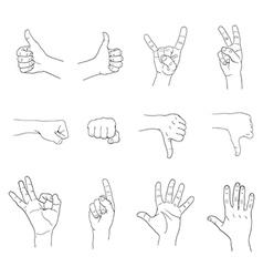 Hand gestures set vector