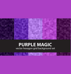 Hexagon pattern set purple magic seamless vector