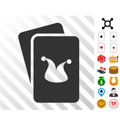 Joker gaming cards icon with bonus vector