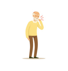 Male character old coughing colourful toon vector