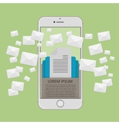 Many envelopes messages in smartphone screen vector image