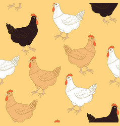 Pattern with chickens vector