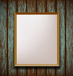 Picture frame hanging on old wooden wall vector