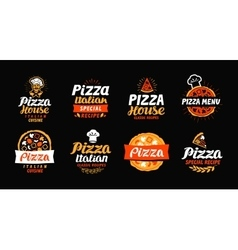 Pizza logo label element pizzeria restaurant vector