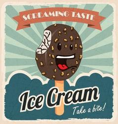 Retro ice cream poster vector image