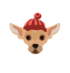 Russian toy terrier dog wearing red hat portrait vector