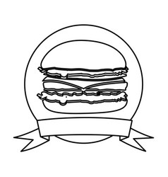 Silhouette circular frame with ribbon and burger vector