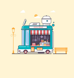 Street and fast foodtruck flat vector