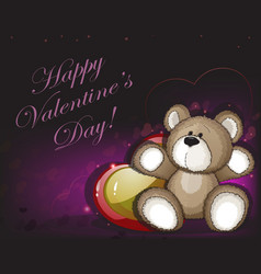 teddy bear and hearts vector image