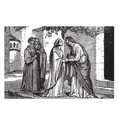 The visitation - mary visits elizabeth vintage vector