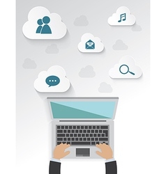 Workplace of icons with cloud for work Isolated vector image