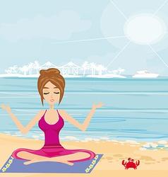 Yoga on a tropical beach vector