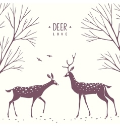 deer cartoon silhouette vector image