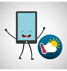 smartphone cartoon with weather forecast vector image