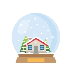 Christmas snow globe with house and trees inside vector