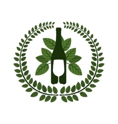 Arch of leaves with bottle wine and goblet vector