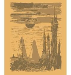 Space landscape stylized vintage graphic vector image