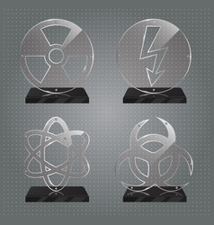 Set of realistic glass trophy awards vector