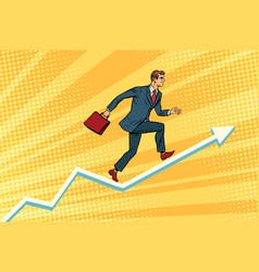 Businessman running on schedule growth vector