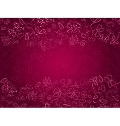 Doodle Pink Card with Flower and Butterflies vector image