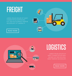 Logistics and freight shipment banners set vector