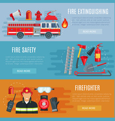 Firefighting or fire safety banners vector
