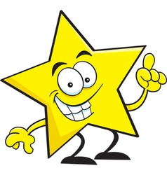 Cartoon smiling star pointing vector